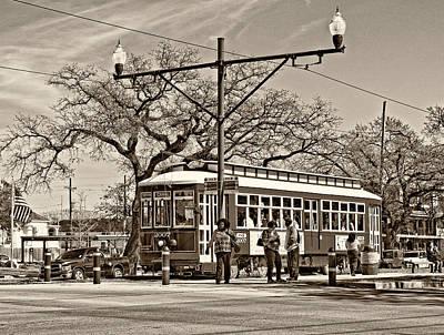Streetcar Photograph - New Orleans Streetcar Sepia by Steve Harrington
