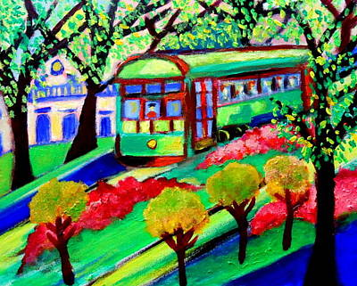 Painting - New Orleans Streetcar by Ted Hebbler
