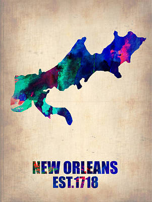 New Orleans Wall Art - Painting - New Orleans Watercolor Map by Naxart Studio