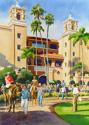 Jockeys Painting - New Paddock At Del Mar by Mary Helmreich