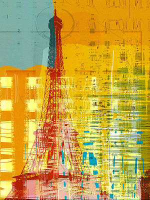 Green Abstracts Drawing - New Paint - Paris Eifel I by Joost Hogervorst