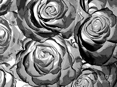 Kitchen Mark Rogan - Pop Art  Black And White Roses by Toula Mavridou-Messer