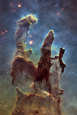 Hubble Telescope Photograph - New Pillars Of Creation Hd Tall by Adam Romanowicz