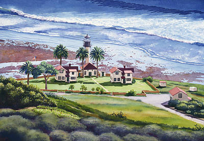 Lighthouse Wall Art - Painting - New Point Loma Lighthouse by Mary Helmreich