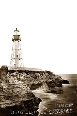 Photograph - New Point Loma Lighthouse San Diego Circa 1910 by California Views Mr Pat Hathaway Archives