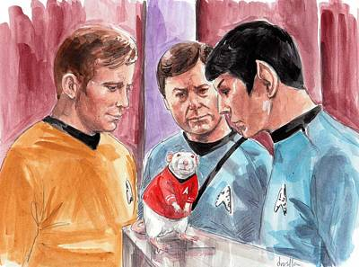 Spock Painting - New Rat On The Enterprise by Drusilla Kehl