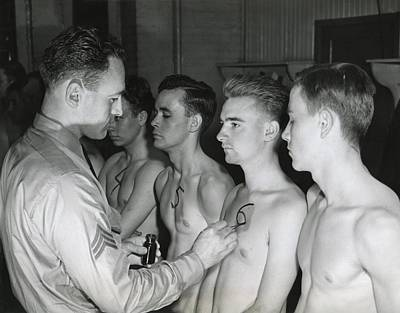 Bare-chested Photograph - New Recruits To The U.s. Army Starting by Everett