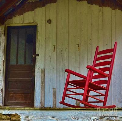 New Red Rocker - Old Porch Print by Bob Sample