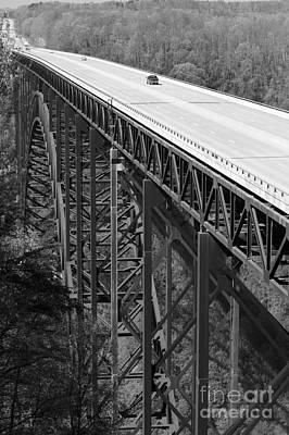 New River Gorge Bridge Bw Print by Teresa Mucha