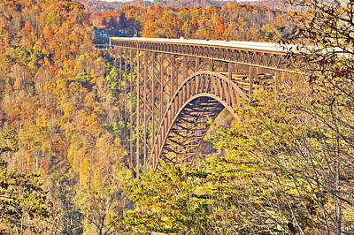Photograph - New River Gorge Single-span Arch Bridge In Autumn. by Simply  Photos