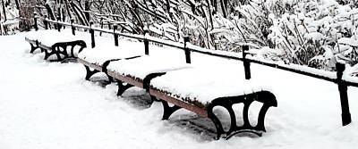 Photograph - New Snow - Benches by Jacqueline M Lewis