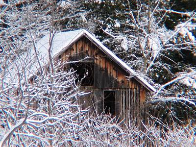 New Snow Old Barn Print by Will Boutin Photos