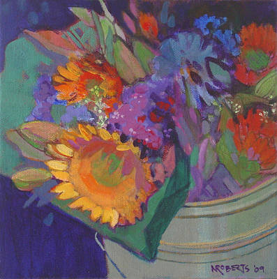 Painting - Sunlit Sunflower Bouquet by Nancy Roberts