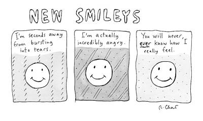 Smiling Drawing - New Versions Of The Stick Figure Smiley's by Roz Chast