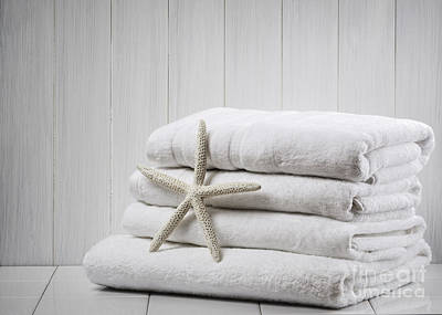 White Background Photograph - New White Towels by Amanda Elwell