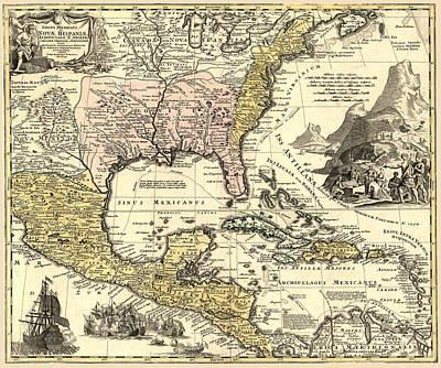 Antique Map Digital Art - New World Map by Gary Grayson