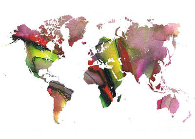 Typography Map Painting - New World Order by Justyna JBJart