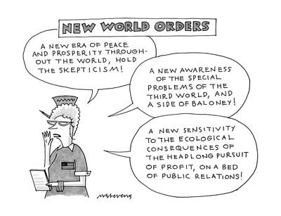 World Peace Drawing - New World Orders by Mick Stevens