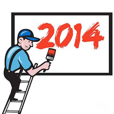New Year 2014 Painter Painting Billboard Print by Aloysius Patrimonio