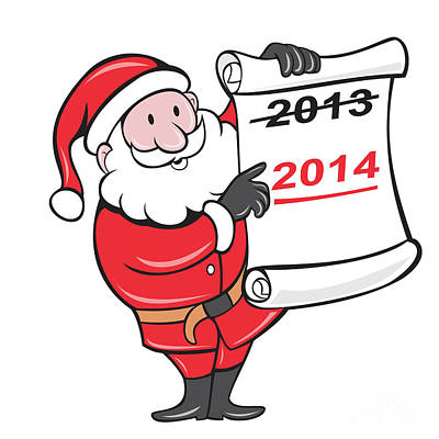 Old Man Digital Art - New Year 2014 Santa Claus Scroll Sign by Aloysius Patrimonio