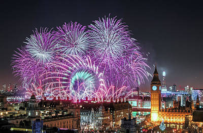 New Year Fireworks Print by Stewart Marsden