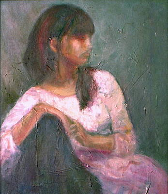 Painting - New Year's Blossom - Sale - Textural Original Oil On Canvas Portrait by Quin Sweetman