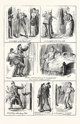 New Years Day In Scotland, First Footing, Engraving 1876 Art Print by English School