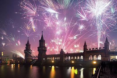New Years Eve At Oberbaum Bridge Art Print by Spreephoto.de