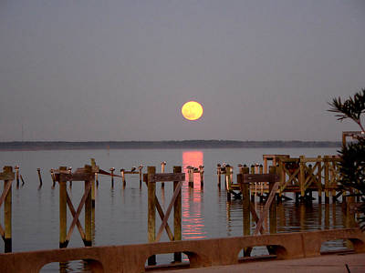 Photograph - New Years Eve Blue Moon On The Bay by Kathy K McClellan