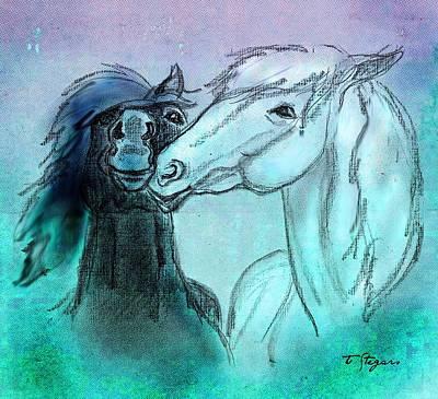Horse Mixed Media - New Years Kiss by Tarja Stegars