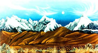 New Years Moonrise Qver Cojata Peru Bolivian Frontier Art Print by Anastasia Savage Ealy