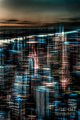 New York - The Night Awakes - Dark Art Print by Hannes Cmarits