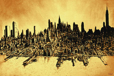 New York Skyline 78 - Mid Manhattan Ink Watercolor Painting Art Print