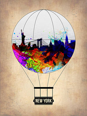 New York Skyline Painting - New York Air Balloon by Naxart Studio