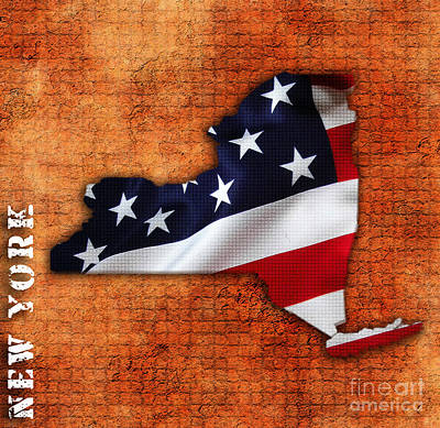 American Flag Mixed Media - New York American Flag State Map by Marvin Blaine
