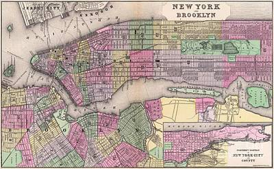 Painting - New York And Brooklyn - Map by Pg Reproductions