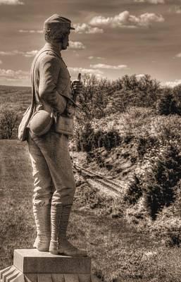 New York At Gettysburg - 84th Ny Vol Infantry 14th Brooklyn Regiment Red Legged Devils Railroad Cut Print by Michael Mazaika