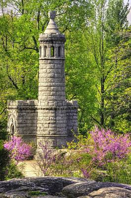 Yankee Division Photograph - New York At Gettysburg - Monument To 12th / 44th Ny Infantry Regiments-2a Little Round Top Spring by Michael Mazaika