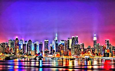Painting - New York At Night by Florian Rodarte