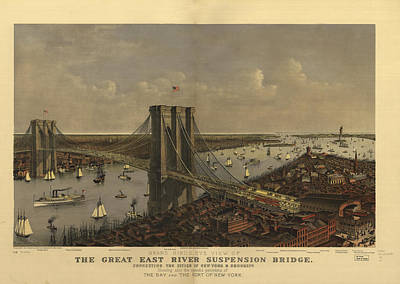 Champagne Painting - New York Bridge by Vintage Images