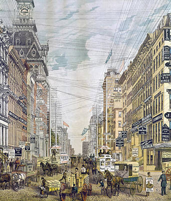 Telephone Poles Painting - New York Broadway, C1885 by Granger