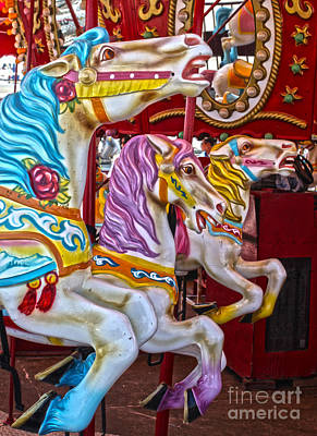 Painting - New York Carousel Horses by Gregory Dyer