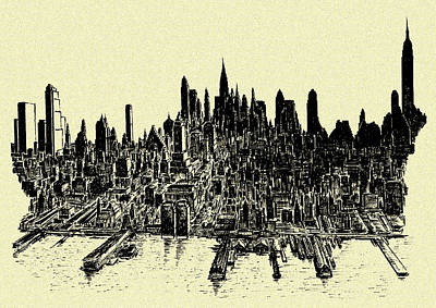 Drawing - New York City 78 - Ink Panorama by Peter Potter