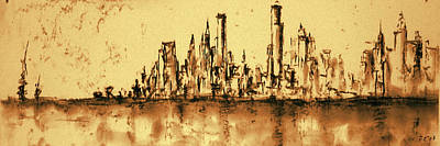 New York City Skyline 79 - Water Color Panorama Art Print