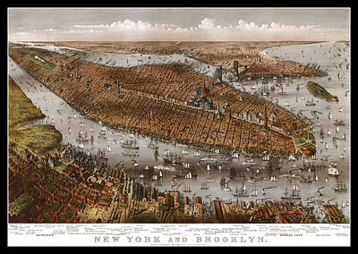 Steamboat Photograph - New York City And Brooklyn 1875 Map by Stephen Stookey