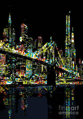 Brooklyn Bridge Digital Art - New York City by Andrzej Szczerski