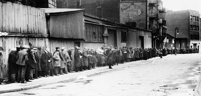 Photograph - New York City Bread Line by Granger