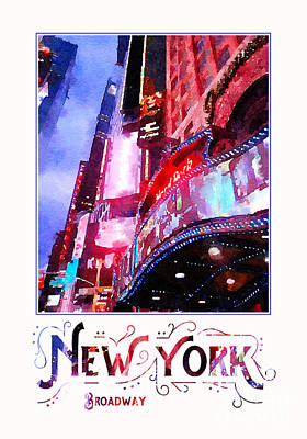 Nyc Digital Art - New York City Broadway Night Lights Digital Watercolor by Beverly Claire Kaiya
