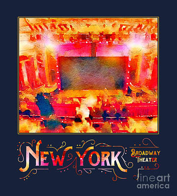 Nyc Digital Art - New York City Broadway Theater Digital Watercolor by Beverly Claire Kaiya