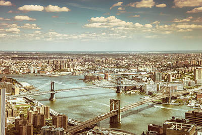 Times Square Photograph - New York City - Brooklyn Bridge And Manhattan Bridge From Above by Vivienne Gucwa